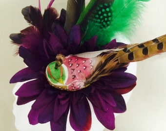 Feather Flower Bird Fascinator hair clip