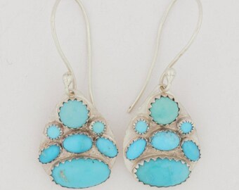 Emory Silver Studio *Sleeping Beauty Turquoise Sterling Silver .925 Earrings Handcrafted*