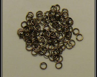 set of 200 rings antique bronze 5mm