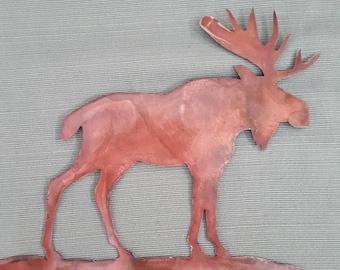 Copper patina Moose wall art.
