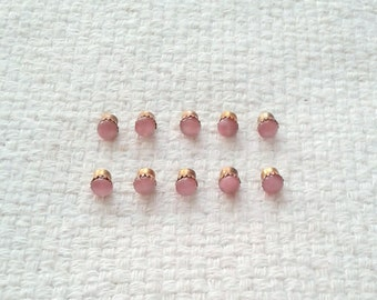 Vintage à tige rose poupée boutons - Cabochons en verre 4 mm Pierre de lune - lot de 10 03/2018