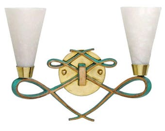 Bronze and Brass Scroll Sconce with Alabaster Shades in a Jules Leleu Style