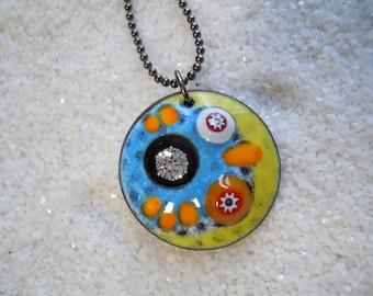 Colorful Jewelry  Graffiti Dome Necklace  Artisan Jewelry