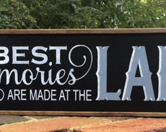 """Lake House Decor. Lake House Sign. Lake House. Lake Decor. Cabin Decor, 24 3/4"""" x 7 1/2"""" x 1. Housewarming Gift. New Home Gift. Solid Wood."""