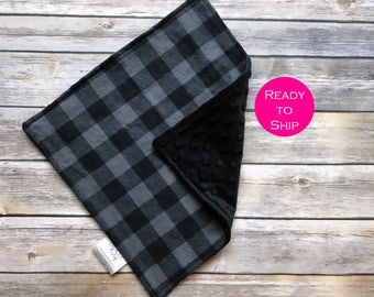 """Baby Lovey Blanket - Ready to Ship - 12"""" Security Blanket - Baby Shower Gift - Gender Neutral Baby Lovey - Plaid Baby Blanket"""