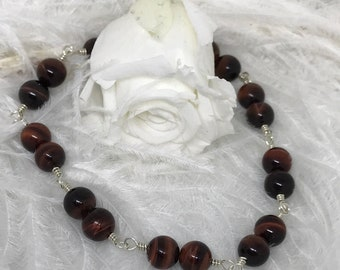 Tigers Eye and Sterling Silver Bracelet