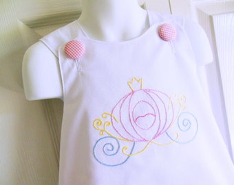 Cross-Back Pinafore Top and Bloomers SET baby or toddler - 6 mos to 6 yrs - Hand Embroidered Princess Carriage - pink or blue bottoms