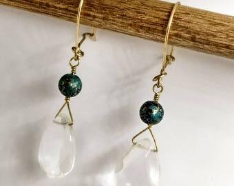 Quartz and Turquoise Bead Earrings