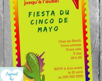 Invitation Fête Cinco de Mayo, Invitation Mexicaine, Cinco de Mayo, Téléchargement Instantané, Invitation français Éditable à Personnaliser