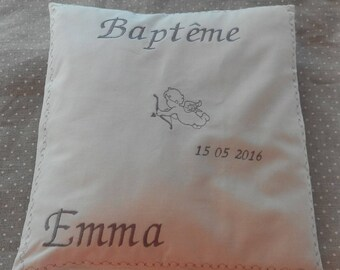 cushion baptism embroidered writing with pattern choice
