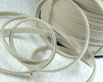 6yds Faux Suede leather Micro Fiber Beige Jewelry Cord Microfiber light Brown Lace 5mm x 1.5mm for DIY Projects