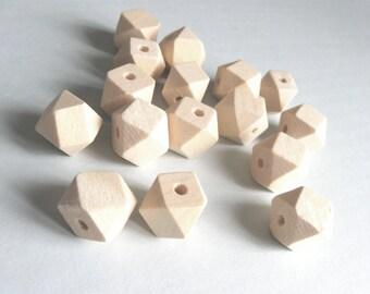 10 Perles hexagones en bois naturel 10, 12 ou 14mm