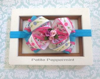 Pink Turquoise Baby Headband, Baby Bow Headband, Girl Hair Bow, Infant headband, newborn headband, toddler headband, baby girl hair bow