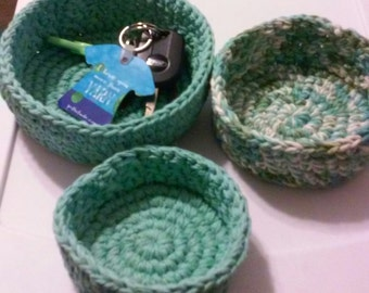 Nesting Bowls, Catch All, Crochet bowls, Storage, Sage Green