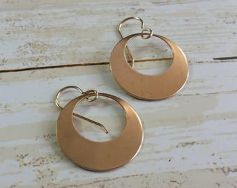 Bronze Disk Earrings Hoop Dangle Earrings