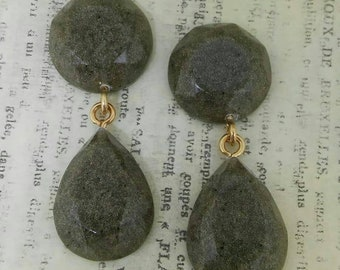 Shimmering Sand Faceted Dangle Earrings