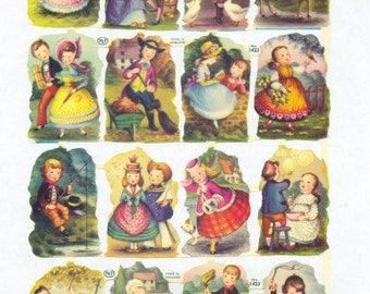 Antique Embossed Chromolithograph English Die Cut Scrap Colonial Children