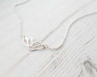 Silver Lotus Necklace. Lotus Necklace. Buddhist Jewellery. Recycled Silver. Nature Jewellery, Flower Necklace. Yoga Jewellery. Meditation