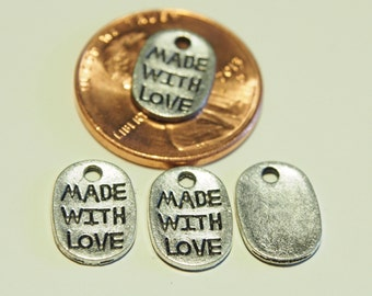 10 Pcs Tibetan Antique Silver Made With Love Charms, Lovely Charms, Pendants, Links, Jewelry Findings - 18x5MM - AS004