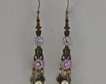 Handmade Brass  Earrings Vintage Stampings Bronze Hooks