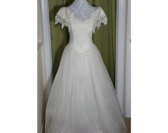 Jessica McClintock Bridal Wedding Dress Gown Beads Lace Chiffon Ivory Cream Off White Sz 3/4