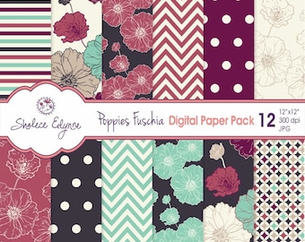 Digital Floral Paper Pack, Poppies in Fuschia Navy & Mint, 12x12 Instant Download