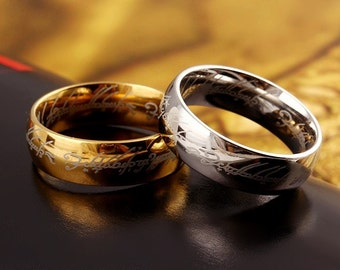 """The Hobbit & Lord of the Rings """"One Ring to Rule Them All"""" 18k Gold, Stainless Steel or Black Titanium Ring"""