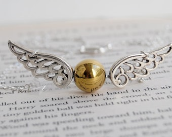 Seeker's Quest Necklace | Magical Wizard Necklace | Golden Winged Ball Necklace | Wizard Sport Pendant