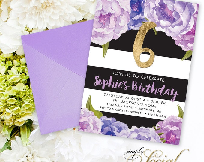 Floral Birthday Party Invitation - Floral Peony Purple Violet Faux Gold Foil Black Stripes Boho Flowers Botanical Any Age Printable