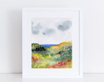 Watercolor Print, Landscape, Fine Art, Modern Art, Ink, Minimalist, Nature, Abstract Art, Bohemian