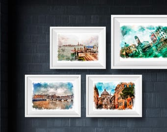 Wall Art Prints,Set of 4 Prints. Italy paint, photography set, venice italy photography, architecture, travel, collection,