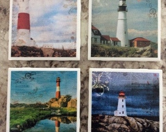 Beautiful Lighthouse Four Scenes Ceramic Tile Coasters Set(4) With Cork Backing