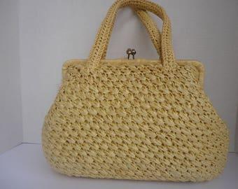 Yellow Raffia Handbag by Corliss