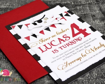 Pirate Invitations · A6 LAYERED · Red and Black · Birthday Party | Skull and Crossbones | Hand Torn