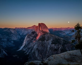 Nature Photography Yosemite National Park Photography Print Half Dome Sunset Landscape Photography Print