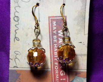 Wedding earrings gold plated ear wires and glass beads.