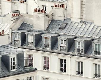 """Paris Rooftops, Paris Photography Print, Large Wall Art Print, Paris Decor, Architecture, Fine Art Photography """"Rooftop Soliloquy"""""""