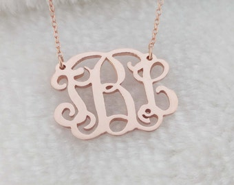 Monogram Necklace Rose Gold,Monogram Initial Necklace 1 Inch,Personalized Nameplate Necklace,Monogram Necklace Small,Bridesmaids Gift