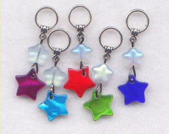 Stars Knitting Stitch Markers Mother of Pearl Twinkle Star Cute Set of 5/SM234