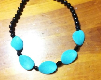 Blue simulated turquoise necklace