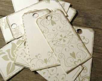 Set of Wedding Gift Tags - Cream Tie-On Labels with Roses, Hearts and Butterflies