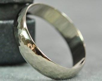 Mens White Gold Band, 14K Classic Style Wedding Ring, 6 x 1.5mm, Hammered Texture, SeaBabeJewelry