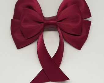 Wine Red Swallow Tail Hair Bow