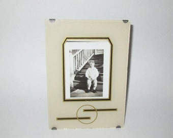 Vintage Art Deco Picture Frame / 30s Glass Art Deco Picture Frame