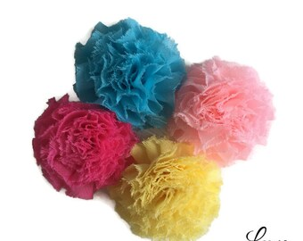 Clearance GRAB BAG: Mini Frayed Chiffon Flower Puffs - 2 Inches - Gorgeous Shabby Flower - Fun - Baby Sprinkle - Cupcake and Sprinkles