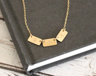 Gold Initial Necklace, Gold Bar Necklace, Personalized Necklace, Hand Stamped Gold Necklace,  Custom Initial Necklace