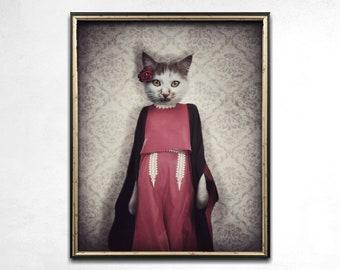 Cat Print, Cat Art, Weird Art, Cat Lady, Cat Lover Gift, Quirky Art, Wall Art, Cat Decor, Anthropomorphic Art, Photo Print, Animal Art Print