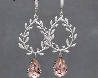 Blush Pink Earrings, Blush Bridesmaid Earrings, Blush Wedding Jewelry for Brides, Swarovski Crystal Drop Earrings, Laurel Leaf Wreath