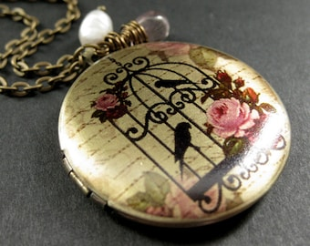 Locket Necklace. Birdcage Charm Necklace with Pink Teardrop and Fresh Water Pearl. Handmade Jewelry.