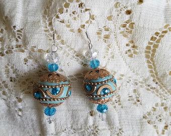 Sky Blue Kashmiri Bead Dangle Earrings